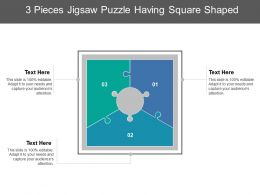 3 Pieces Jigsaw Puzzle Having Square Shaped