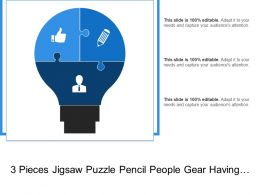 3 Pieces Jigsaw Puzzle Pencil People Gear Having Bulb Shaped