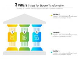 3 Pillars Stages For Storage Transformation Infographic Template