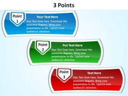 3 points with textboxes slides presentation diagrams templates powerpoint info graphics