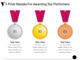 3 Prize Medals For Awarding Top Performers Example Of Ppt