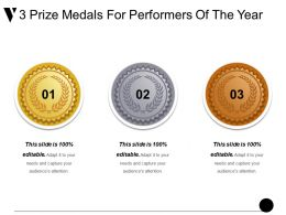 3 Prize Medals For Performers Of The Year Sample Of Ppt