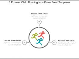3 Process Child Running Icon Powerpoint Templates
