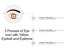 3 Process Of Eye Icon With Yellow Eyeball And Eyebrow