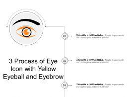 3 Process Of Eye Icon With Yellow Eyeball And Eyebrow