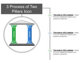 3 Process Of Two Pillars Icon PowerPoint Layout