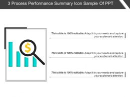 3 Process Performance Summary Icon Sample Of Ppt
