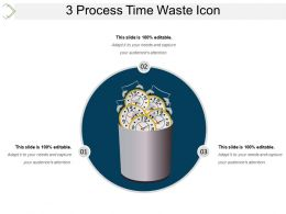 3 Process Time Waste Icon Powerpoint Show