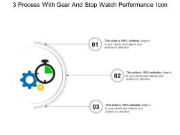 3 Process With Gear And Stop Watch Performance Icon