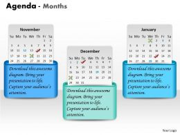 3 Staged Monthly Business Agenda Diagram 0214