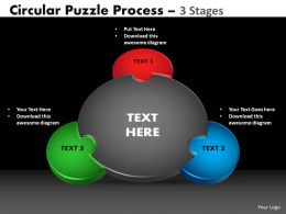 3 Stages Circular Puzzle Process Powerpoint Slides And ppt Templates 0412