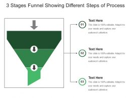 3 Stages Funnel Showing Different Steps Of Process