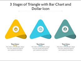 3 Stages Of Triangle With Bar Chart And Dollar Icon