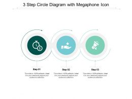 3 Step Circle Diagram With Megaphone Icon