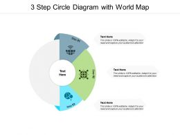 3 Step Circle Diagram With World Map
