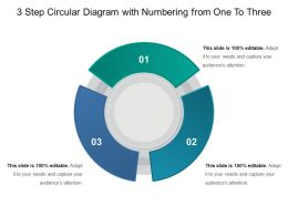 3 Step Circular Diagram With Numbering From One To Three