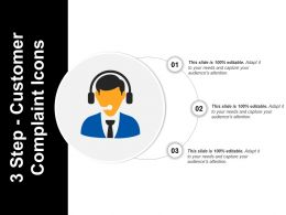 3 Step Customer Complaint Icons Sample Ppt Presentation
