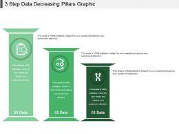 3 Step Data Decreasing Pillars Graphic