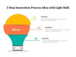 3 Step Innovation Process Idea With Light Bulb