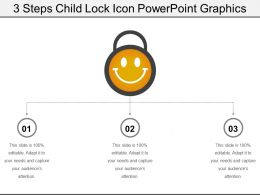 3 Steps Child Lock Icon Powerpoint Graphics