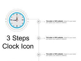 3 Steps Clock Icon Powerpoint Slide Deck