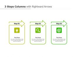 3 Steps Columns With Rightward Arrows