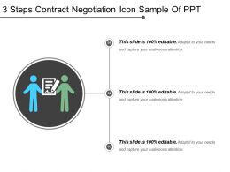 3 Steps Contract Negotiation Icon Sample Of Ppt