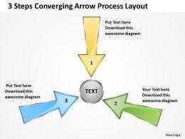 3 steps converging arrow process layout Circular PowerPoint Slides