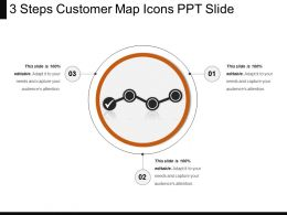 3 Steps Customer Map Icons Ppt Slide