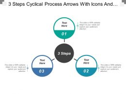 3 Steps Cyclical Process Arrows With Icons And Textboxes