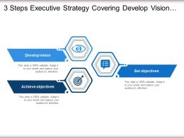 3 Steps Executive Strategy Covering Develop Vision Objectives And Implement Strategy