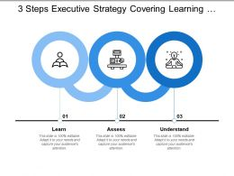 3 Steps Executive Strategy Covering Learning Assess Understand Network And Communication