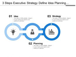 3 Steps Executive Strategy Define Idea Planning Strategy Marketing Finance And Success