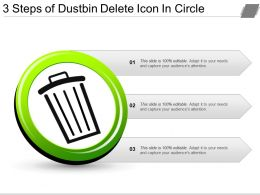 3 Steps Of Dustbin Delete Icon In Circle