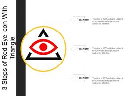 3 Steps Of Red Eye Icon With Triangle