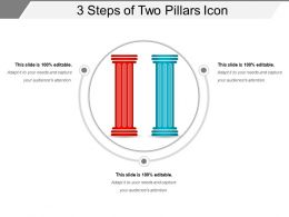 3 Steps Of Two Pillars Icon Powerpoint Presentation