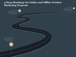 3 Steps Roadmap For Online And Offline Product Marketing Proposal Ppt Slides