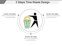 3 Steps Time Waste Design PowerPoint Slide Background