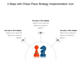 3 Steps With Chess Piece Strategy Implementation Icon