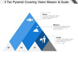 3 Tier Pyramid Covering Vision Mission And Goals