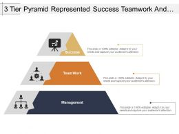 3 Tier Pyramid Represented Success Teamwork And Management
