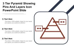 3 Tier Pyramid Showing Pins And Layers Icon Powerpoint Slide