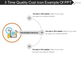 3 Time Quality Cost Icon Example Of Ppt