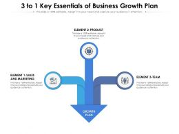 3 To 1 Key Essentials Of Business Growth Plan