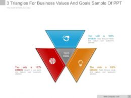 3 Triangles For Business Values And Goals Sample Of Ppt