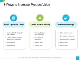 3 Ways To Increase Product Value Text Here Ppt Powerpoint Presentation Infographics Example