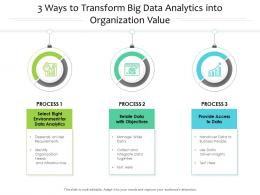 3 Ways To Transform Big Data Analytics Into Organization Value