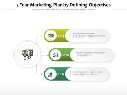 3 Year Marketing Plan By Defining Objectives