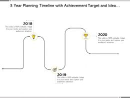 3 Year Planning Timeline With Achievement Target And Idea Bulb Roadmap