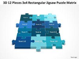 3D 12 Pieces 3x4 Rectangular Jigsaw Puzzle Matrix